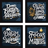 Fatmug Office Decor Motivational Posters for Room - Set of 4 Framed Wall Hanging Art Quotes