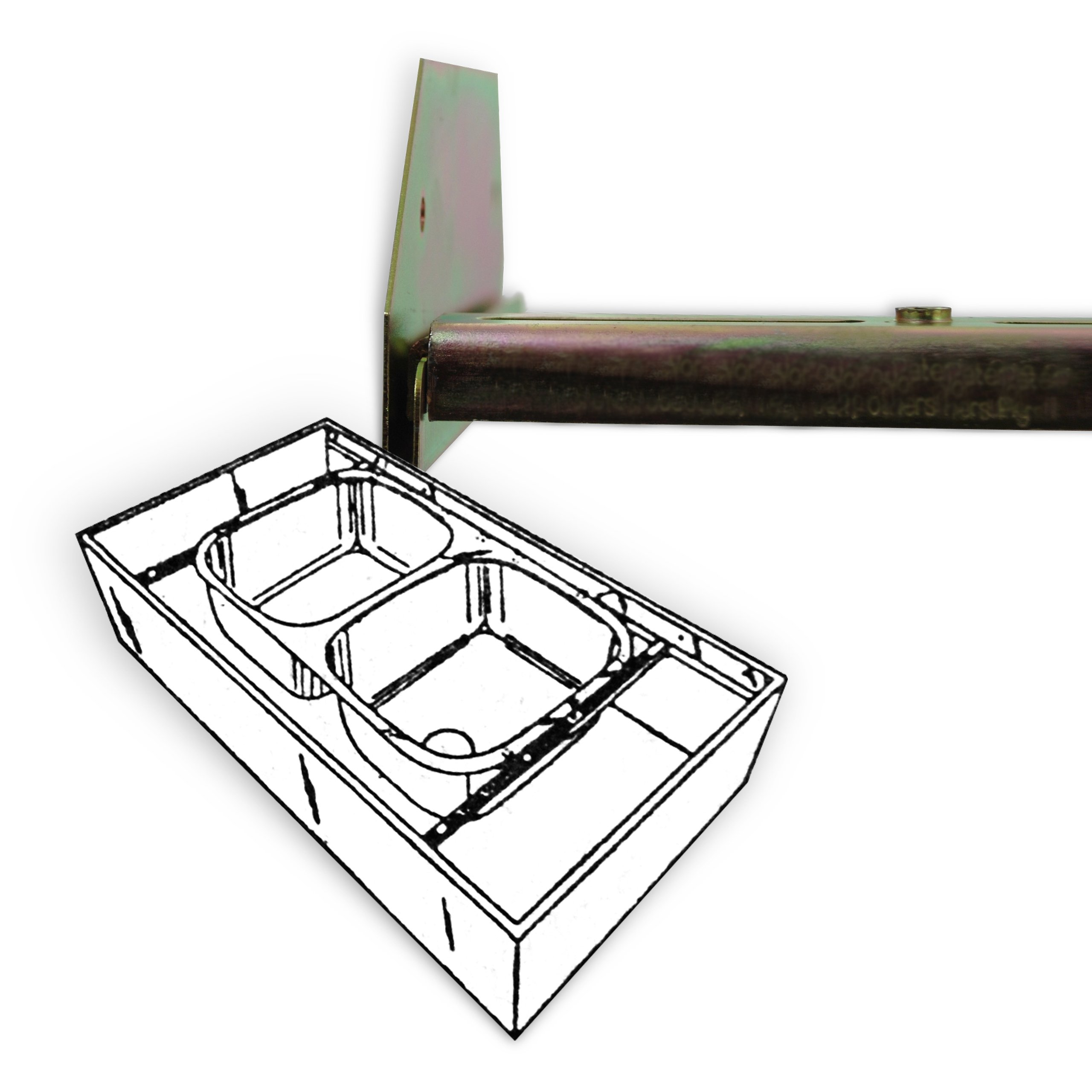 "Sink Setter PW-114-P Offset Side to Side installations 25"" to 47"""