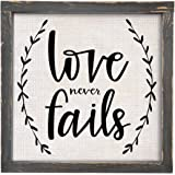 Brownlow Kitchen Love Never Fails Framed Linen Sign