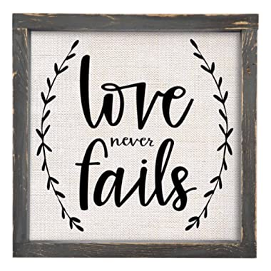 Brownlow Gifts Love Never Fails Framed Linen Sign