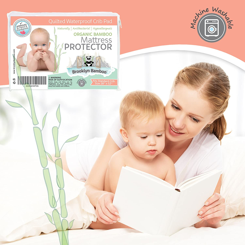 Crib protector for babies - Amazon Com Brooklyn Bamboo Crib Mattress Pad Protector Waterproof Quilted Baby
