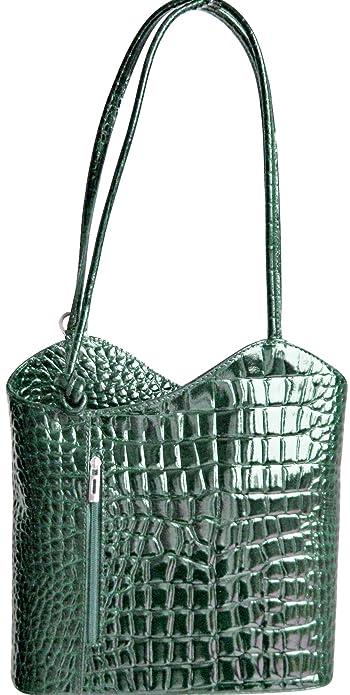 6fdc01be22 Handbag Bliss Italian Leather Mock Croc Shoulder Bag and Rucksack Backpack  (Green)