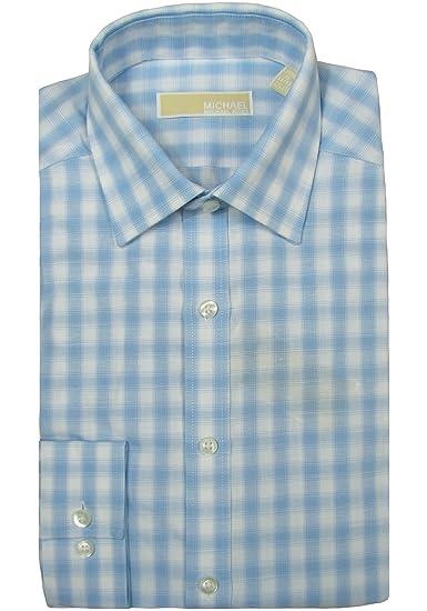 046402a72511c Michael Kors Mens Slim Fit Blue Plaid Dress Shirt - 15