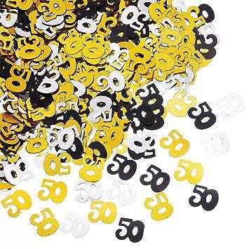 50 Confeti Número Confeti Aniversario 50 Aniversario Decoración, 50 g / 1.7 onzas