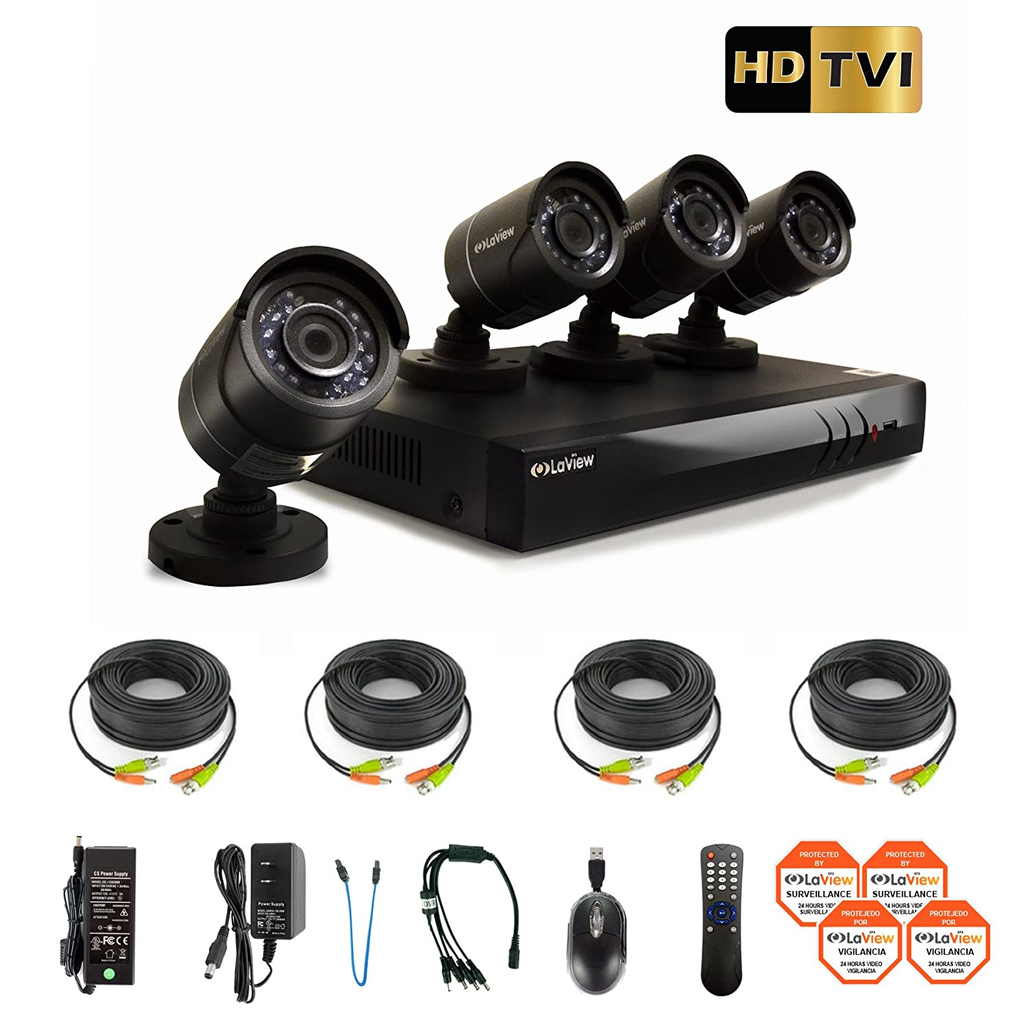 ... HD DVR Surveillance System with 1TB HDD and 4 HD 720P Night Vision Outdoor Bullet Security Cameras, Remote View Ready, LV-KH944FT4A8-T1 : Camera & Photo