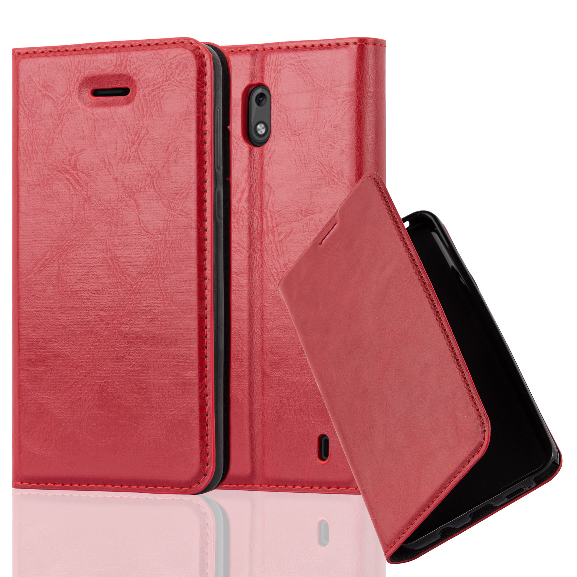 Cadorabo Case works with Nokia 2 Book Case in APPLE RED (Design INVISIBLE CLOSURE) – with Magnetic Closure, Stand Function and Card Slot – Wallet Case Etui Cover PU Leather