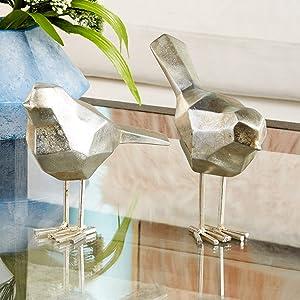 "CosmoLiving by Cosmopolitan 77167 Large Modern Style Metallic Silver Bird Figurines Table Decor | Set of 2: 3"" x 7"", 3"" x 8"""