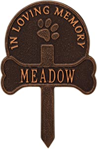 Whitehall Personalized Pet Memorial Yard Sign - Custom Cast Aluminum Dog Paw and Bone Remembrance Cross Garden Stake, Grave Marker
