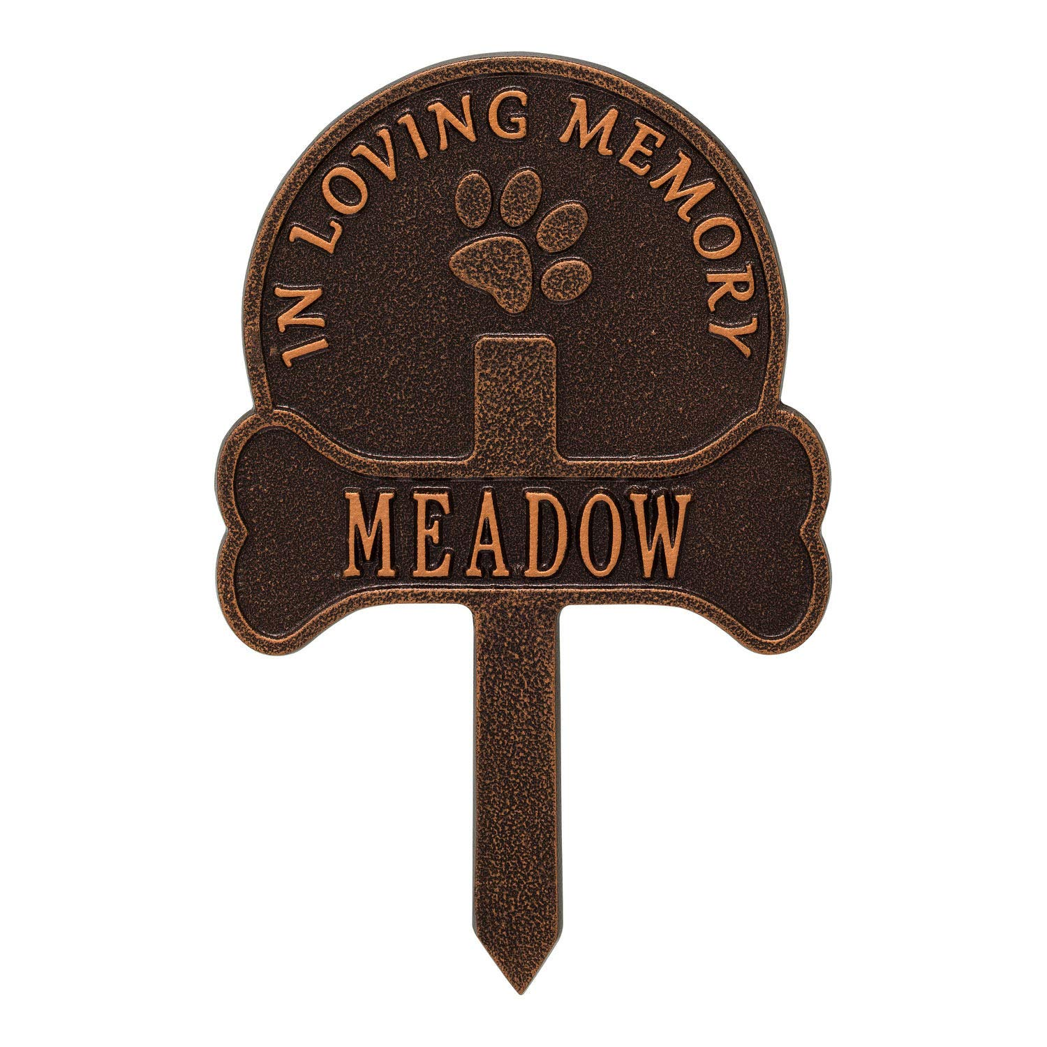 Whitehall Personalized Pet Memorial Yard Sign - Custom Cast Aluminum Dog Paw and Bone Remembrance Cross Garden Stake, Grave Marker - Antique Copper by Whitehall