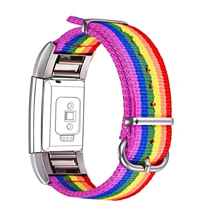 Bandmax Compatible Fitbit Charge 2 Bands Rainbow LGBT, Nylon Fitbit 2 Watch  Bands Comfortable Sport Straps Accessories Mix Adjustable Metal Clasp
