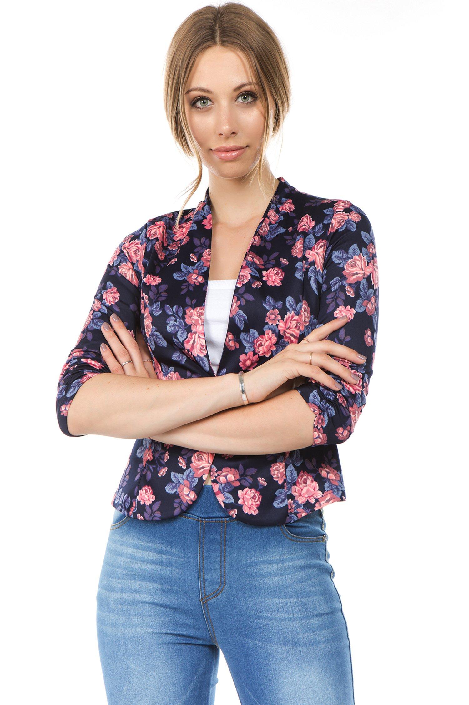 Bubble B Women's Floral Print Blazer Button Front Jacket Navy Blue L