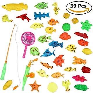 THE TWIDDLERS Giocattolo per pesca magnetica con 39 pezzi in vari colori e forme con canna da pesca inclusa. Ideale per i bambini durante il bagnetto o in piscina