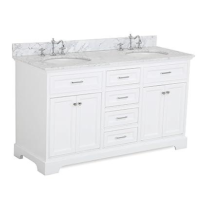 Aria 60 Inch Double Bathroom Vanity (Carrara/White): Includes A White
