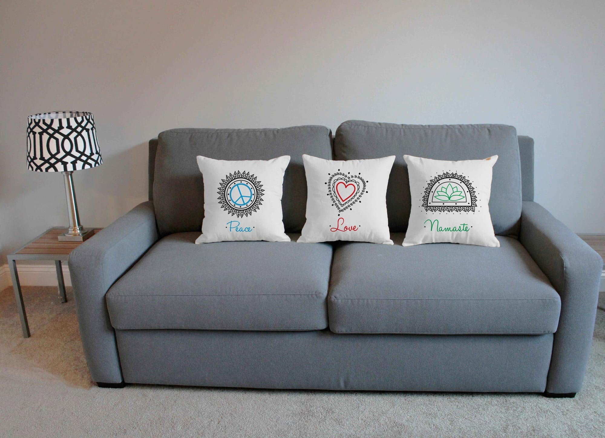 Set of 3 RoomCraft Peace Love Namaste Throw Pillow Covers 20x20 Inch Square White Outdoor Yoga Shams by RoomCraft (Image #5)