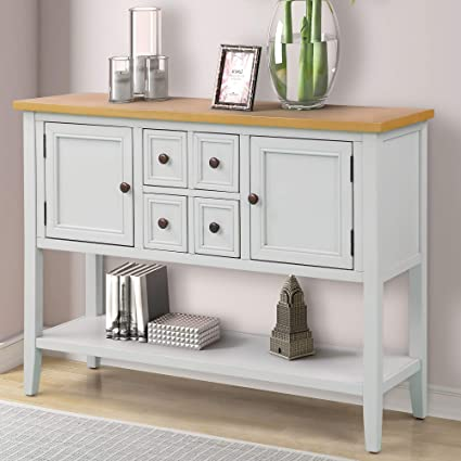 Buffet Table.P Purlove Sofa Table Buffet Table Console Tables With Four Storage Drawers Two Cabinets And Bottom Shelf Antique White