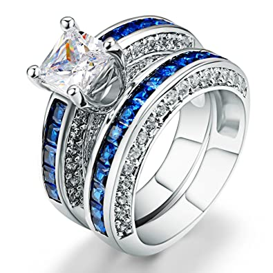 amiery womens fashion 18kgp princess cut cz blue sapphire wedding engagement bridal rings set 5 - Blue Sapphire Wedding Ring Sets