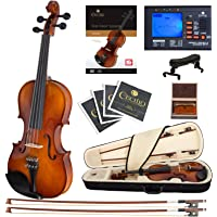 Cecilio CVN-300 Ebony Fitted Solid Wood Violin with Tuner and Lesson Book, Size 4/4 (Full Size)