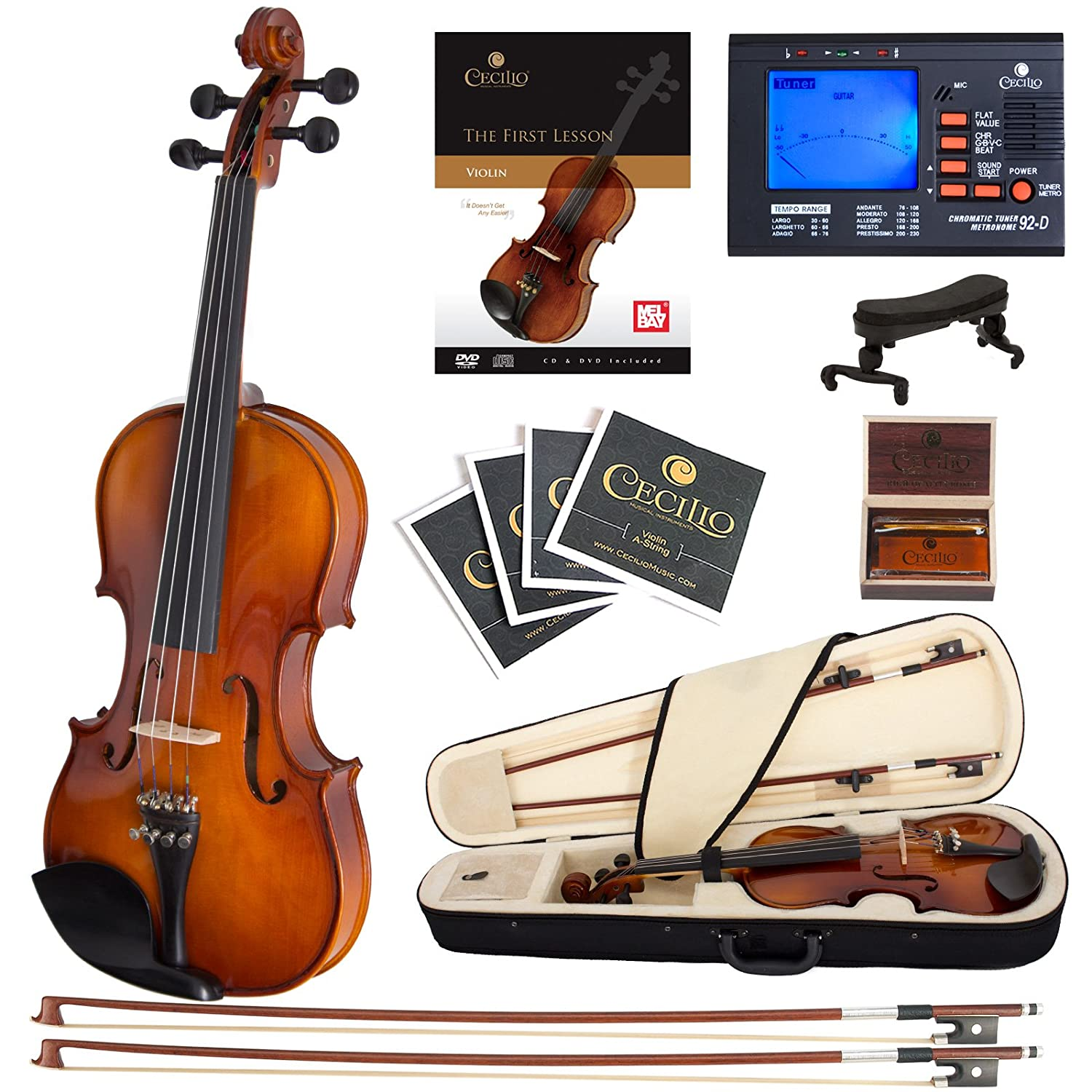 Cecilio CVN-300 Ebony Fitted Solid Wood Violin with Tuner and Lesson Book, Size 1/4 1/4CVN-300+SR+92D+FB1