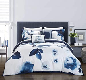 Chic Home Brookfield Garden 5 Piece Comforter Set Large Scale Floral Pattern Print Bedding - Decorative Pillows Shams Included, Queen, Blue
