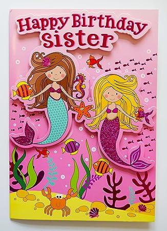 Happy birthday sister greeting card mermaid 3d luxury pink girl kids happy birthday sister greeting card mermaid 3d luxury pink girl kids cute m4hsunfo