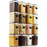 Airtight Food Storage Containers - Wildone Cereal & Dry Food Storage Container Set of 16 [54oz /1.6L] for Sugar, Flour…