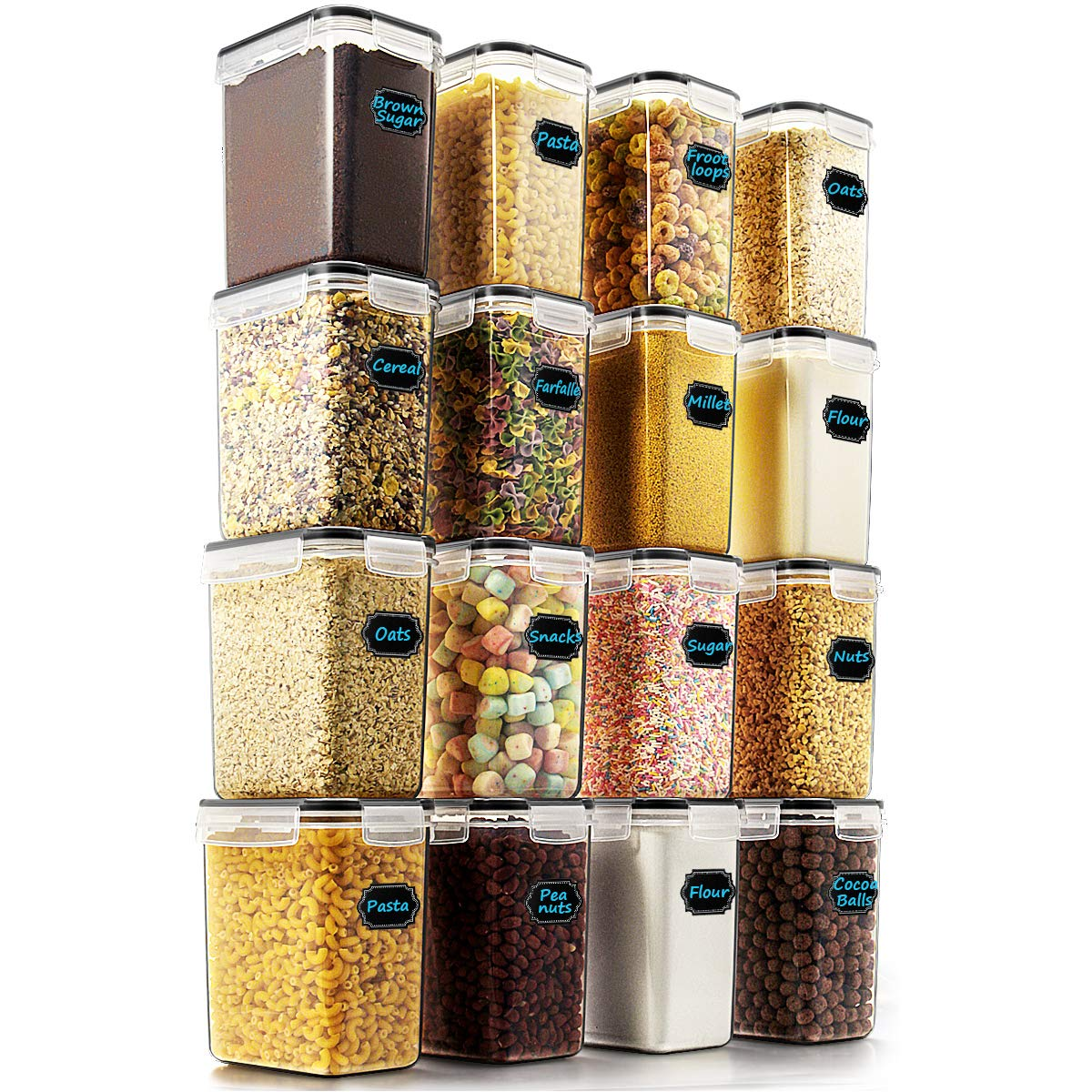 Airtight Food Storage Containers - Wildone Cereal & Dry Food Storage Container Set of 16 [54oz /1.6L] for Sugar, Flour and Baking Supplies, Leak-proof & BPA Free, with 20 Labels & 1 Marker