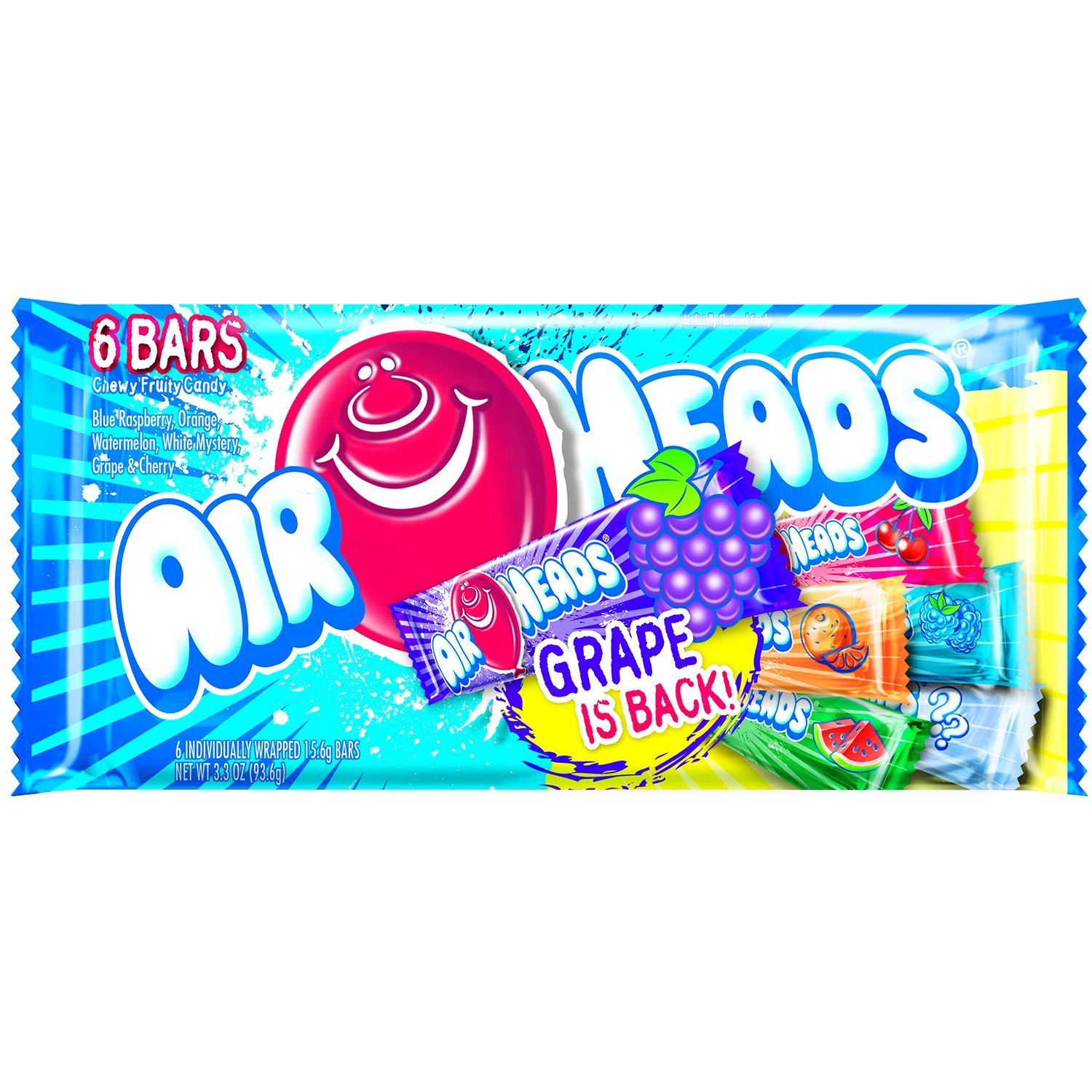 AirHeads Candy Variety Bag, Individually Wrapped Assorted Fruit Mini Bars, Party, 3.3 Ounce (Bulk Pack of 18) by Airheads