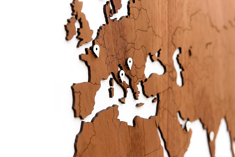 Mimi Innovations Giant Weltkarte Wand Hochwertig Holz Weltkarte