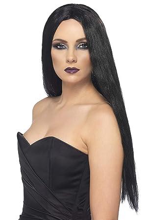 Smiffys Smiffys Halloween Peluca de Bruja, Negra, 61cm de Largo, Color, Tamaño