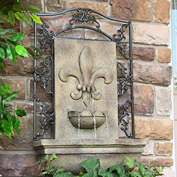 Sunnydaze French Lily Outdoor Wall Water Fountain, With Electric  Submersible Pump, Florentine Stone,