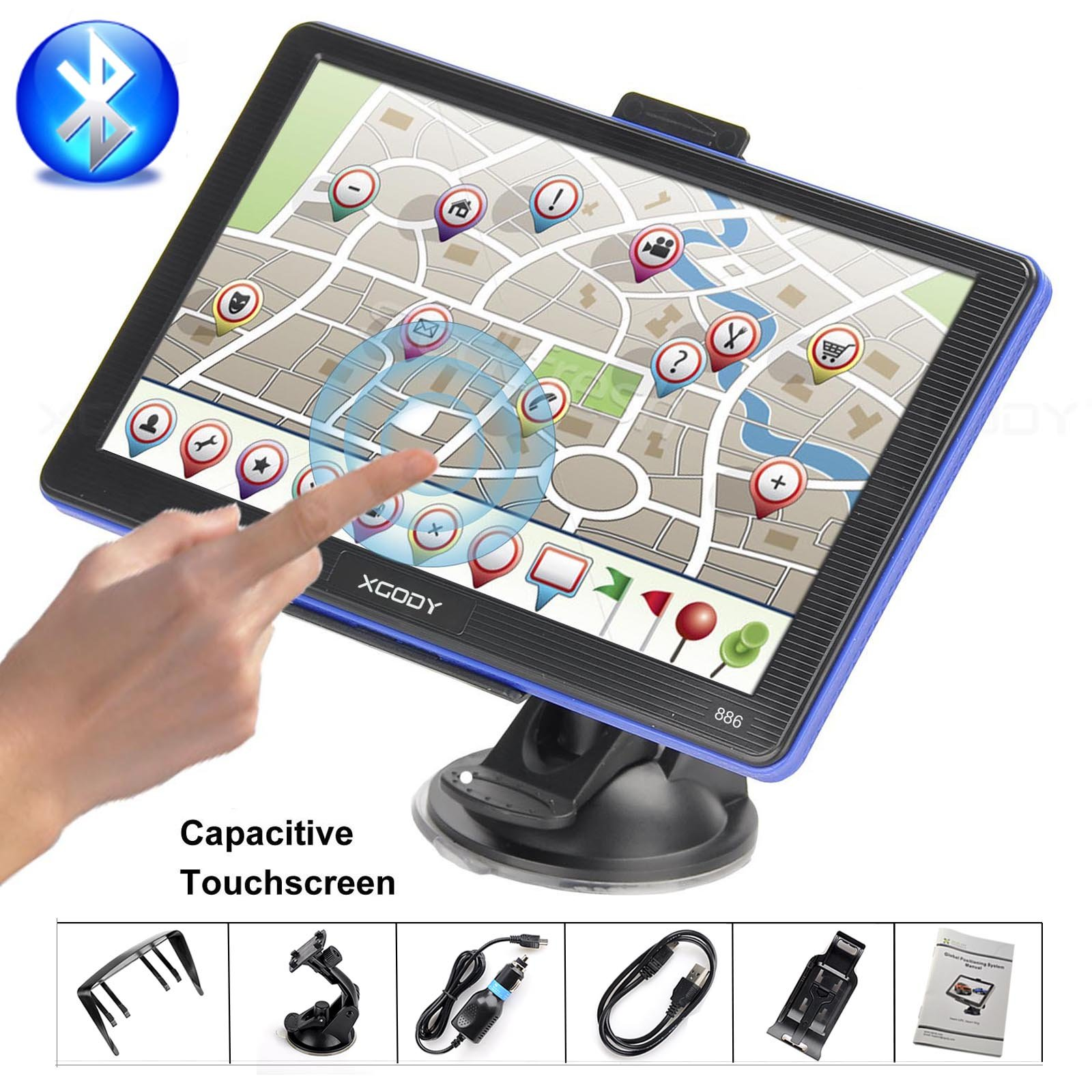 Xgody Portable Car Truck GPS Navigation 886 Support Bluetooth 7'' Capacitive Touchscreen 256MB RAM 8GB ROM NAV System Navigator with Sun Shade Lifetime Maps Updates Spoken Turn-By-Turn Directions
