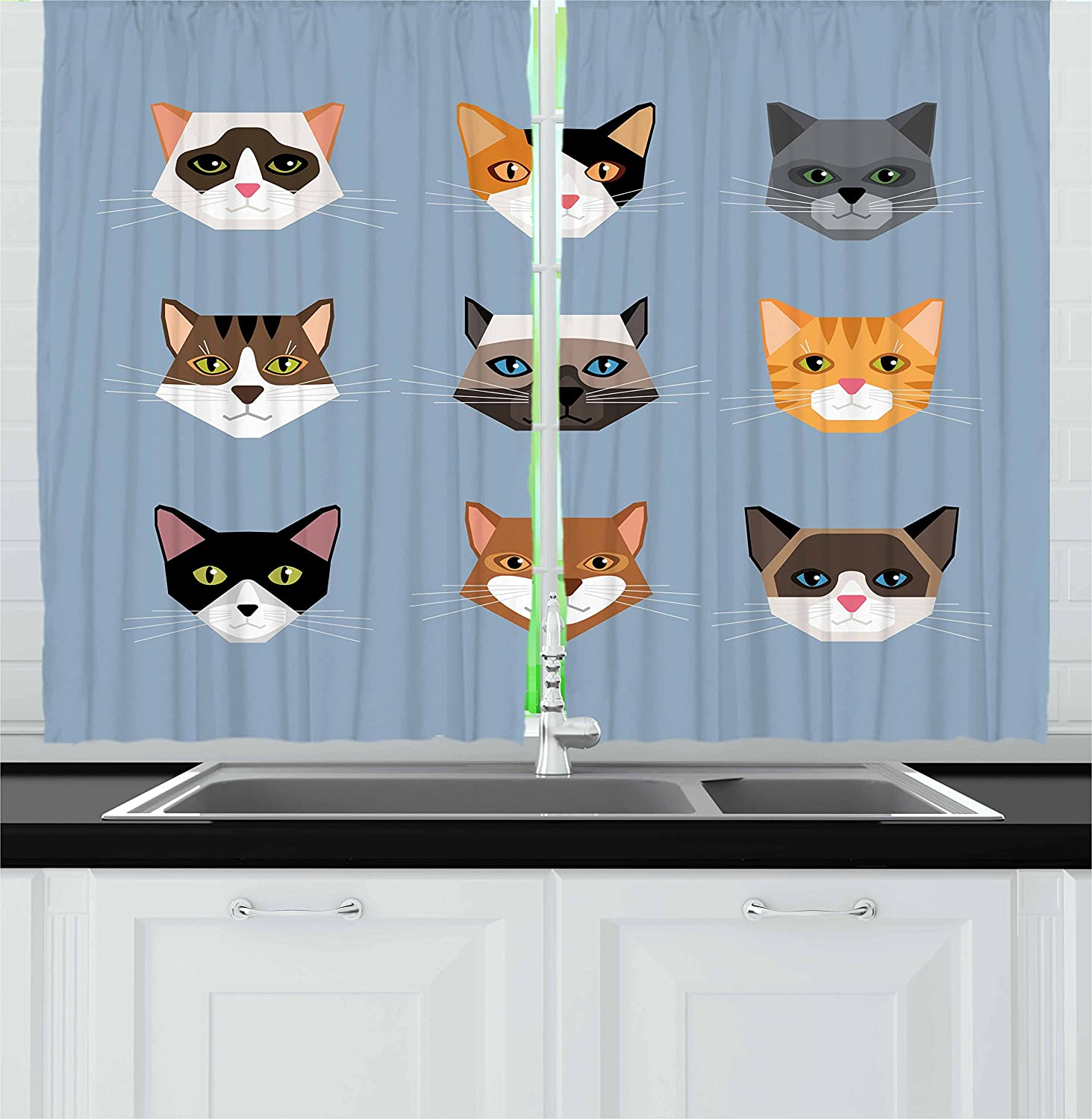 Amazon Com Ambesonne Cat Kitchen Curtains Animal Portrait Set With Kittens Face Whiskers Contemporary Caricature Pattern Window Drapes 2 Panel Set For Kitchen Cafe Decor 55 X 39 Multicolor Home Kitchen