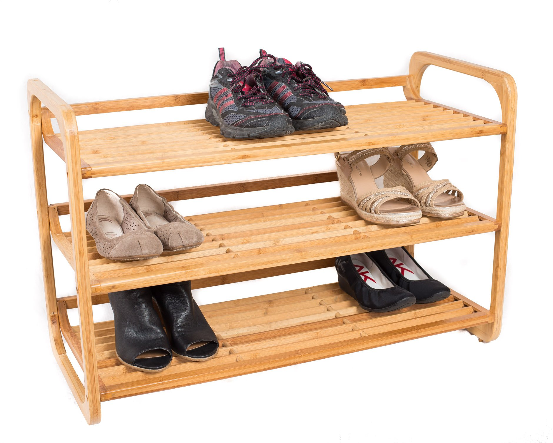 BirdRock Home 3-Tier Bamboo Shoe Rack | Environmentally Friendly | Fits 9-12 Shoes