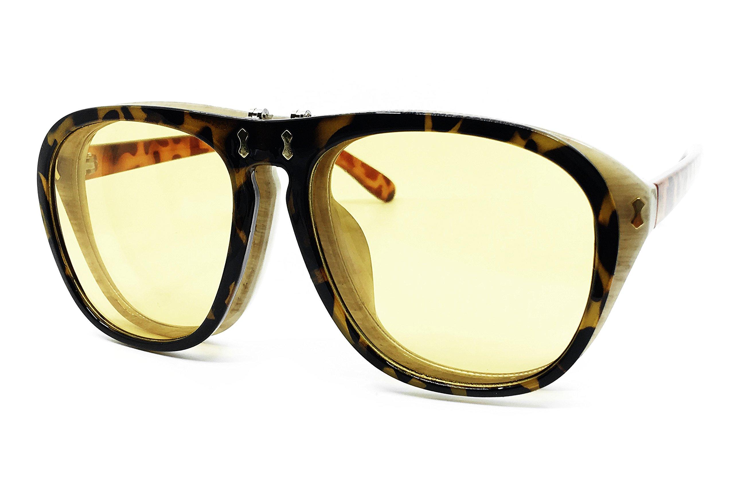 O2 Eyewear 8021 Premium Oversized XL Flip Up Steampunk Retro Vintage Brand Designer Style Sunglasses (YELLOW, 55)