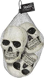 "amscan Halloween Mini Skulls Multipack,White,4 1/2"" x 3 3/4"""