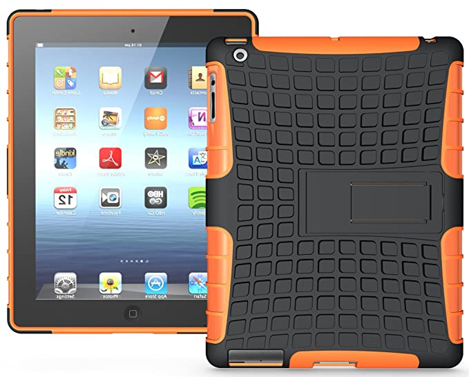 492a14346882 Image Unavailable. Image not available for. Color  Nakedcellphone ORANGE GRENADE  RUGGED TPU SKIN HARD CASE COVER STAND FOR APPLE iPAD ...