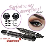 Eyeliner Stamp – WingLiner By Lovoir/Vogue Effects Black, Waterproof Make up, Smudgeproof, Winged Long Lasting Liquid Eye Liner Pen, Vamp Style Wing, 2 Pens In A Pack (All Sizes Triple Pack Combo)