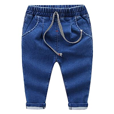 MMWORM Baby Boys Ripped Jeans Elastic Waist Denim Pants Jeans For Little Boys Girls