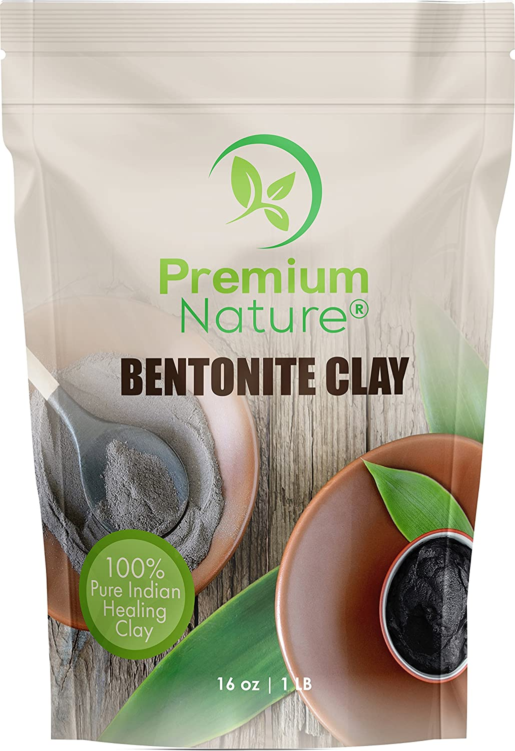 Indian Healing Bentonite Clay Mask - Detoxifying Facial Mask Acne Scar Removal Treatment for Hair & Skin, Face Care Masks Natural Deep Cleansing, Pore Minimizer Detox Clay Cleanser Powder 16 oz Premium Nature