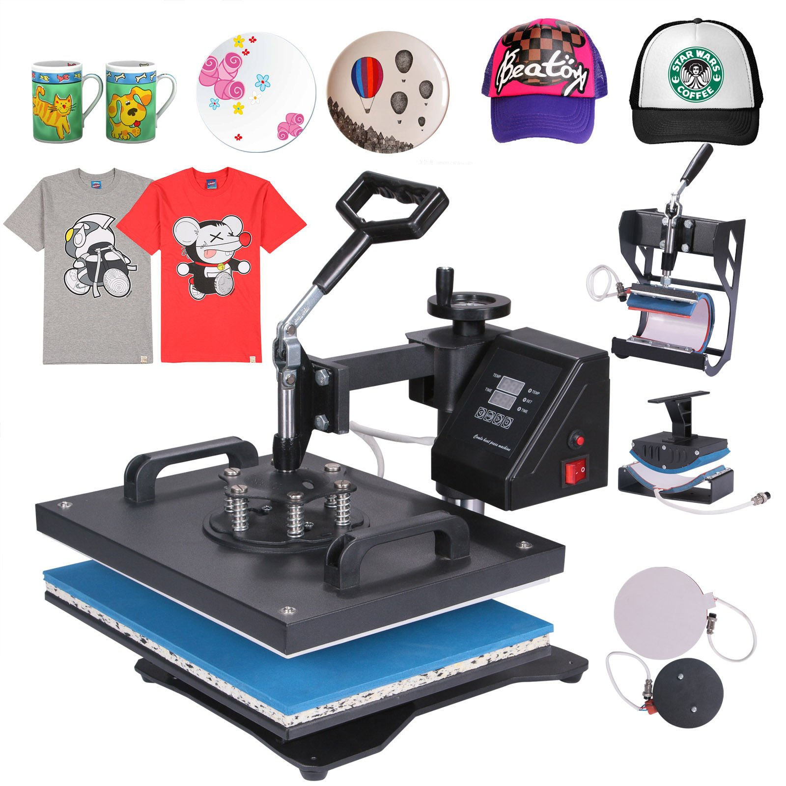 Mophorn Heat Press 5 in 1 Multifunction Sublimation Heat Press Machine Desktop Iron Baseball Hat Press 1400W Digital Swing Away Transfer T Shirt Hat Mug (5IN1) by Mophorn