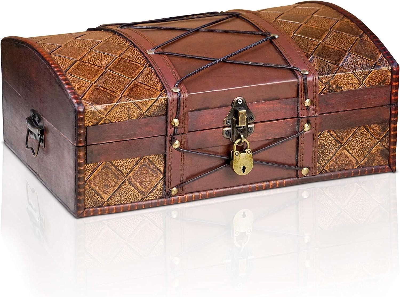 Brynnberg Caja de Madera Jimmy 35x23x14cm - Cofre del Tesoro Pirata de Estilo Vintage - Hecha a Mano - Diseño Retro - joyero - con candado: Amazon.es: Hogar