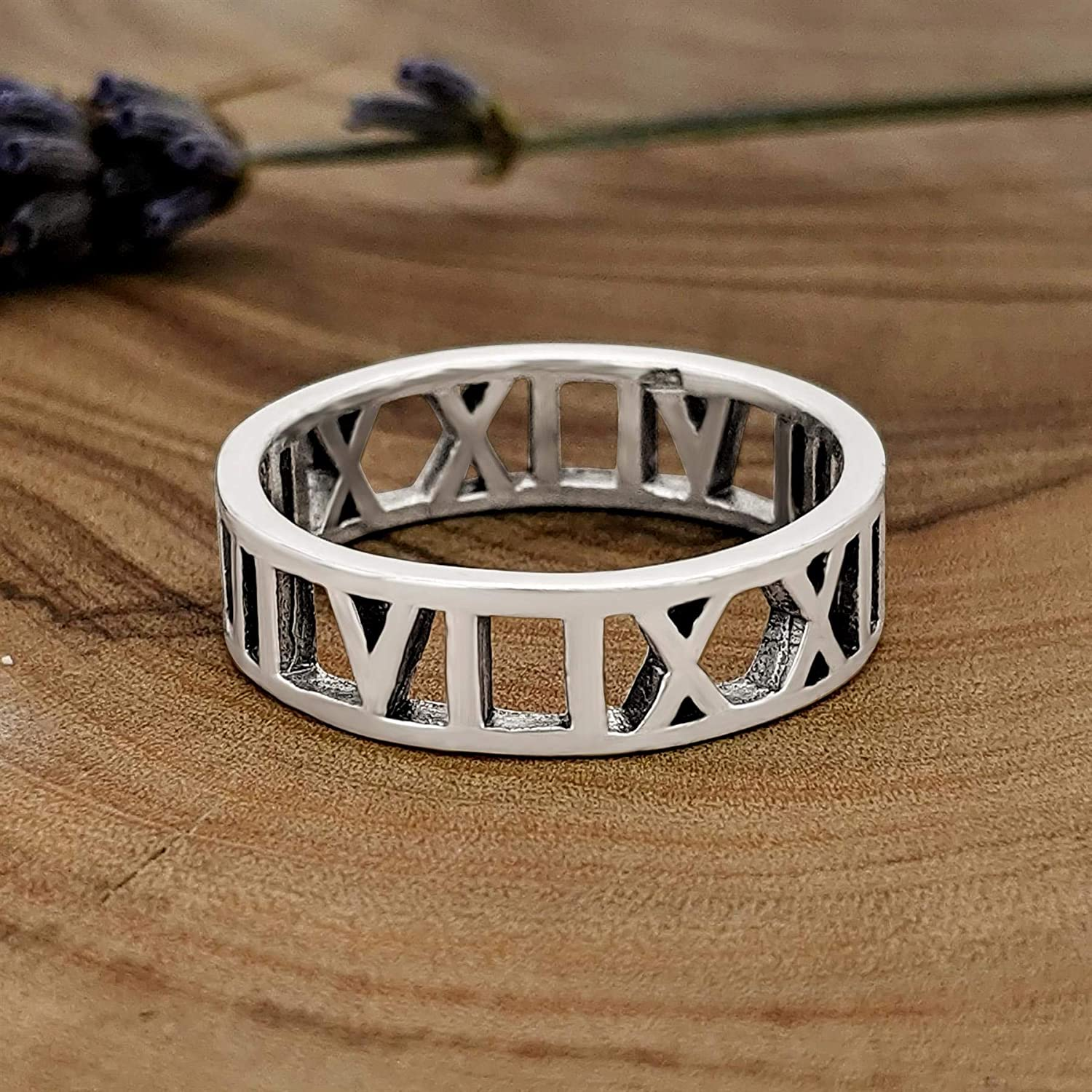 Roman Numerals Ring Genuine Sterling Silver 925 Face Height 3.5 mm Selectable
