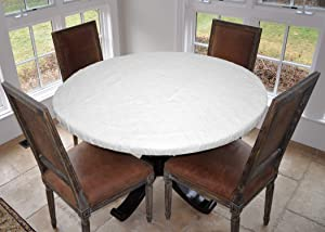 "Covers For The Home Deluxe Elastic Edged Flannel Backed Vinyl Fitted Table Cover - Quilted White Pattern - Large Round - Fits Tables up to 45"" - 56"" Diameter"
