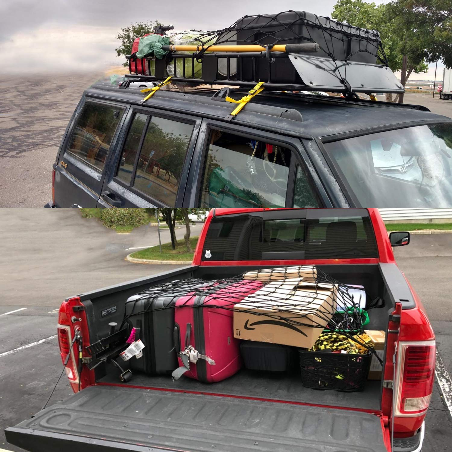 Latex Truck Bed Mesh Truck Bed Net Storage 3x4 to 6x8 Heavy Duty Bungee Cargo Net 12pcs Free Carabiners /& Storage Bag for Loads Tighter Cargo Hitch