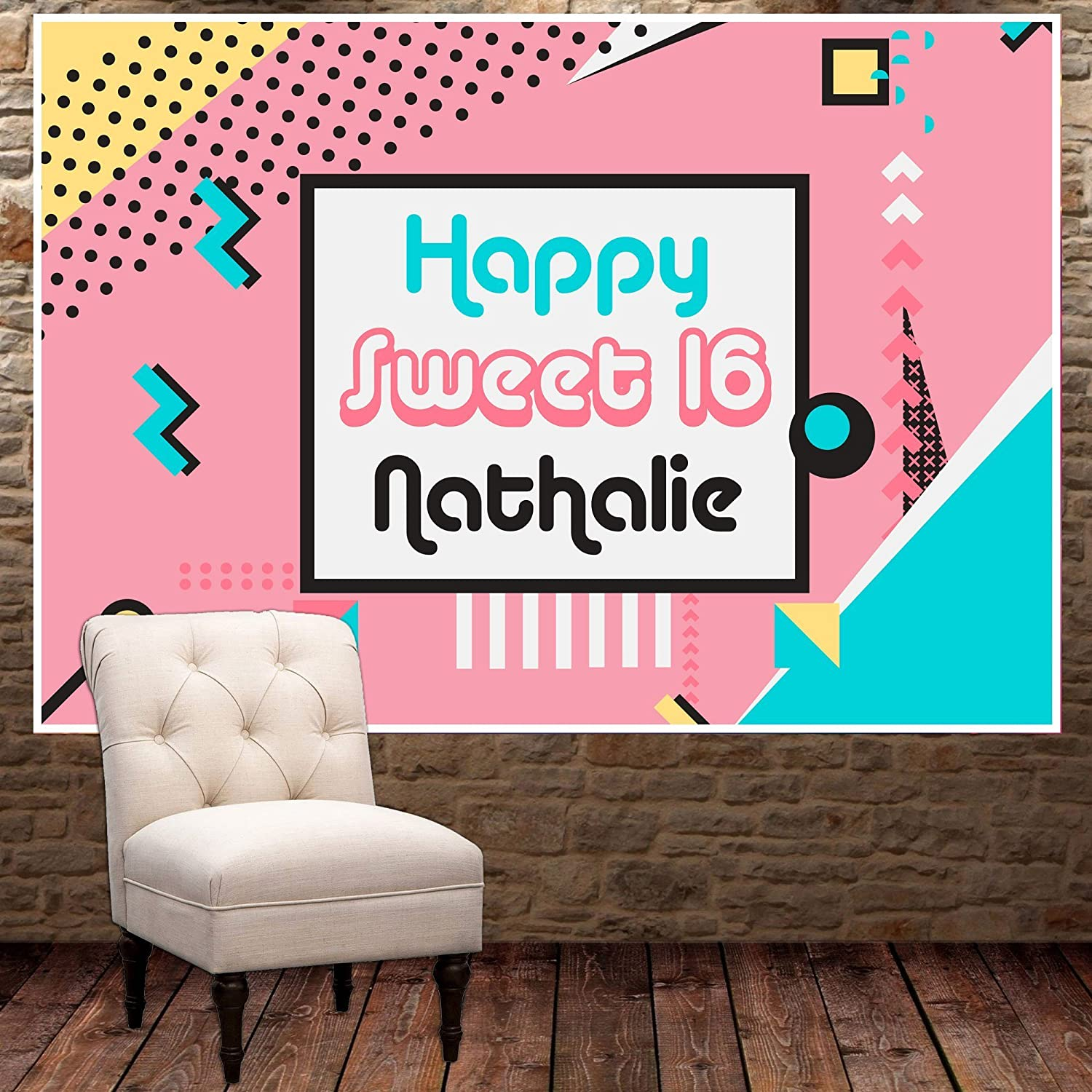 Pop Art Sweet Sixteen 16 Birthday Banner Personalized Party Backdrop