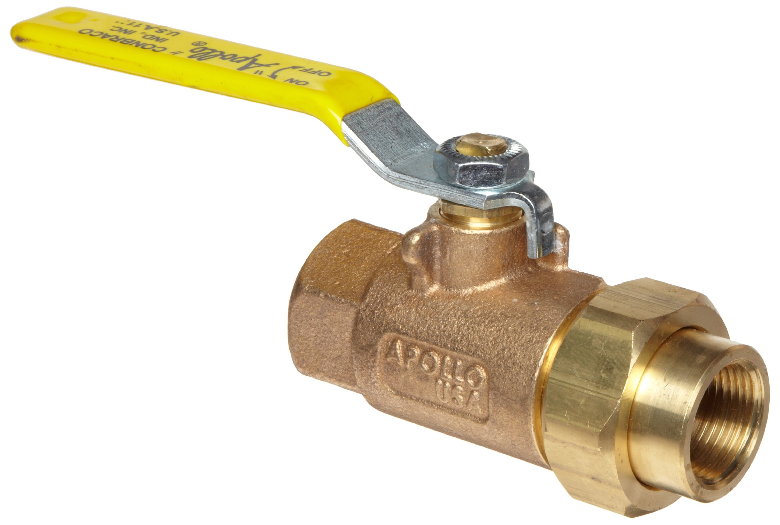 Apollo 70-300 Series Bronze Ball Valve, Two Piece, Inline, Lever, 1'' NPT Female x Union NPT Female