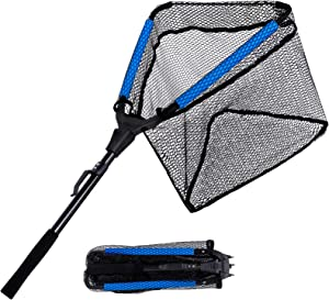PLUSINNO Floating Fishing Net, Rubber Coated Fish Landing Net - Easy Catch and Release, Foldable Telescopic Fishing Net for Freshwater or Saltwater