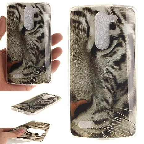 Qiaogle Teléfono Caso - Funda de TPU silicona Carcasa Case Cover para LG L Bello D331 D335 D337 (5.0 Pulgadas) - TX18 / Blanco tiger