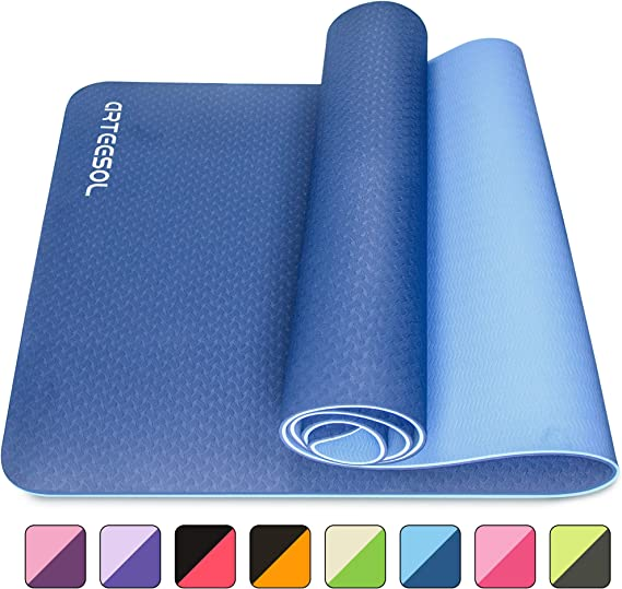 arteesol Yoga Mat, Non-Slip 6mm Thick Large Exercise Mat, Anti-Tear Eco Friendly with Carry Straps, Premium for Pilates, Fitness, Women and Men 183 cm x 61 cm x 6 mm