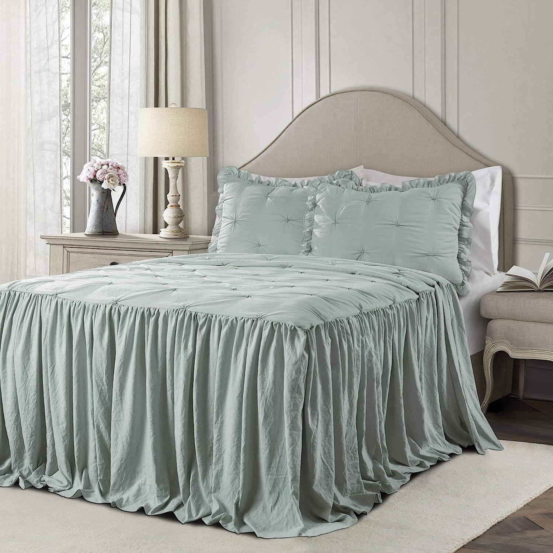 Lush Decor Blue Ravello Pintuck Ruffle Skirt Bedspread Shabby Chic Farmhouse Style Lightweight 2 Piece Set Twin